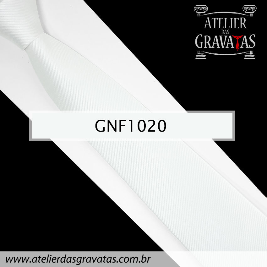 Gravata Slim Branca de Seda 8cm GNF1020