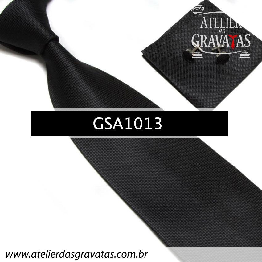 Gravata Preta de Seda GSA1013 - acompanha lenço e abotoaduras