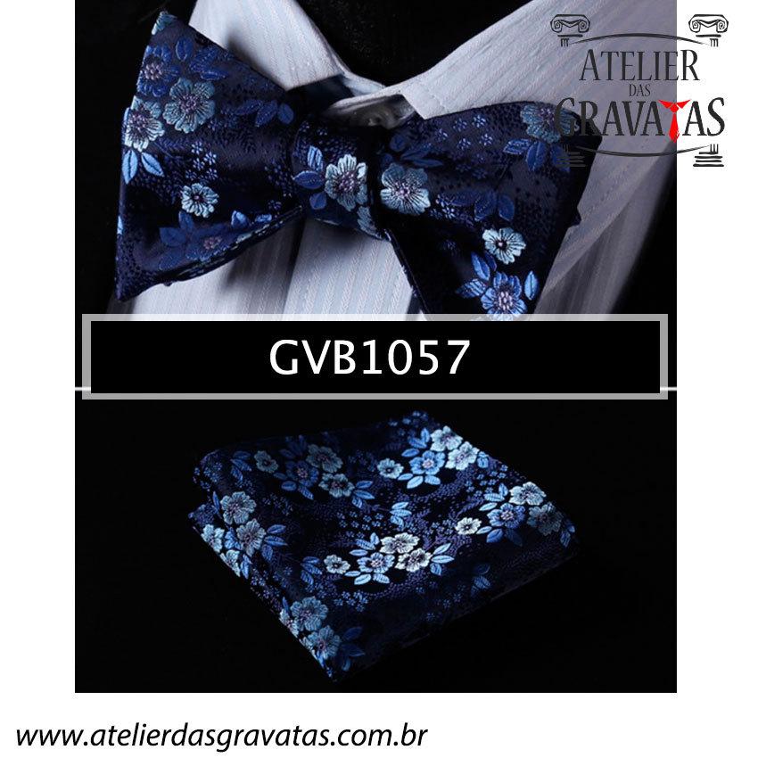 Gravata Borboleta Azul de Seda Especial GVB1057 - acompanha lenço