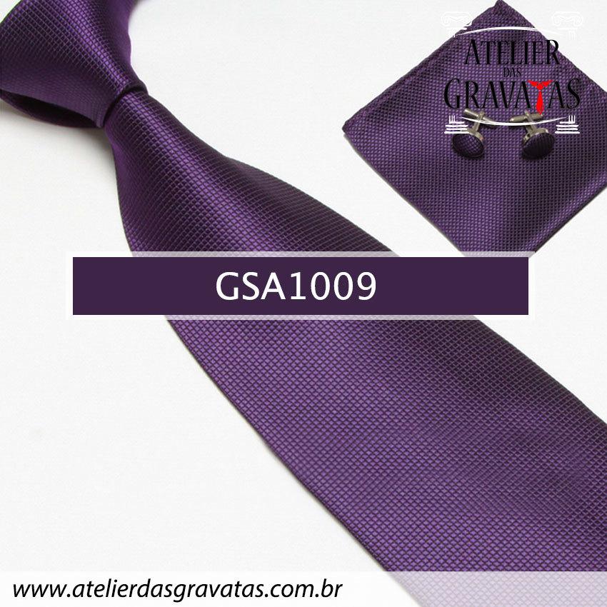 Gravata Roxa de Seda 10cm GSA1009 - acompanha lenço e abotoaduras