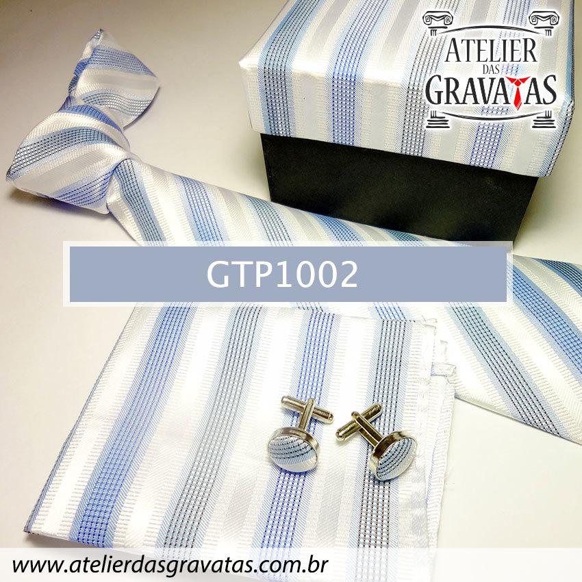 Gravata Elegante de Seda Feita a Mão GTP1002 Azul e Branca