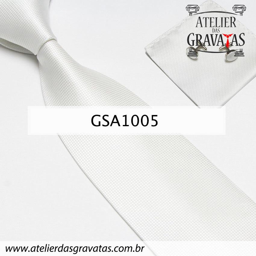 Gravata Branca de Seda 10cm GSA1005 - acompanha lenço e abotoaduras