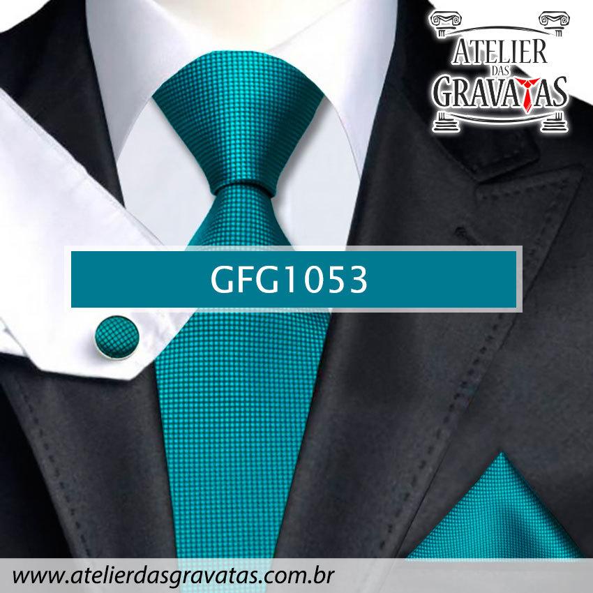 Gravata Slim de Seda Especial 8cm GFG1053 - acompanha lenço e abotoaduras
