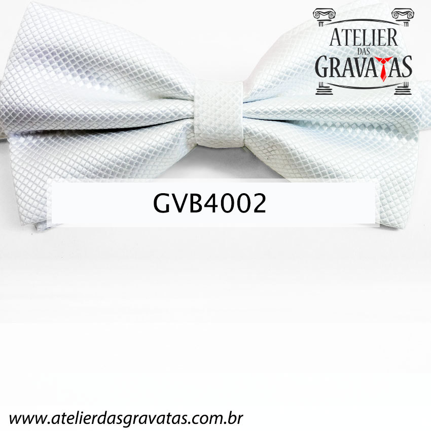 Gravata Borboleta Branca - nó pronto GVB4002 - com ajuste de largura