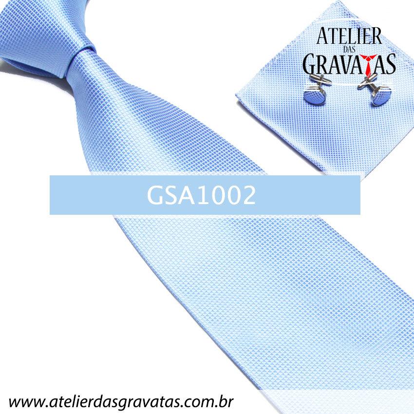 Gravata Azul de Seda 10cm GSA1002 - acompanha lenço e abotoaduras