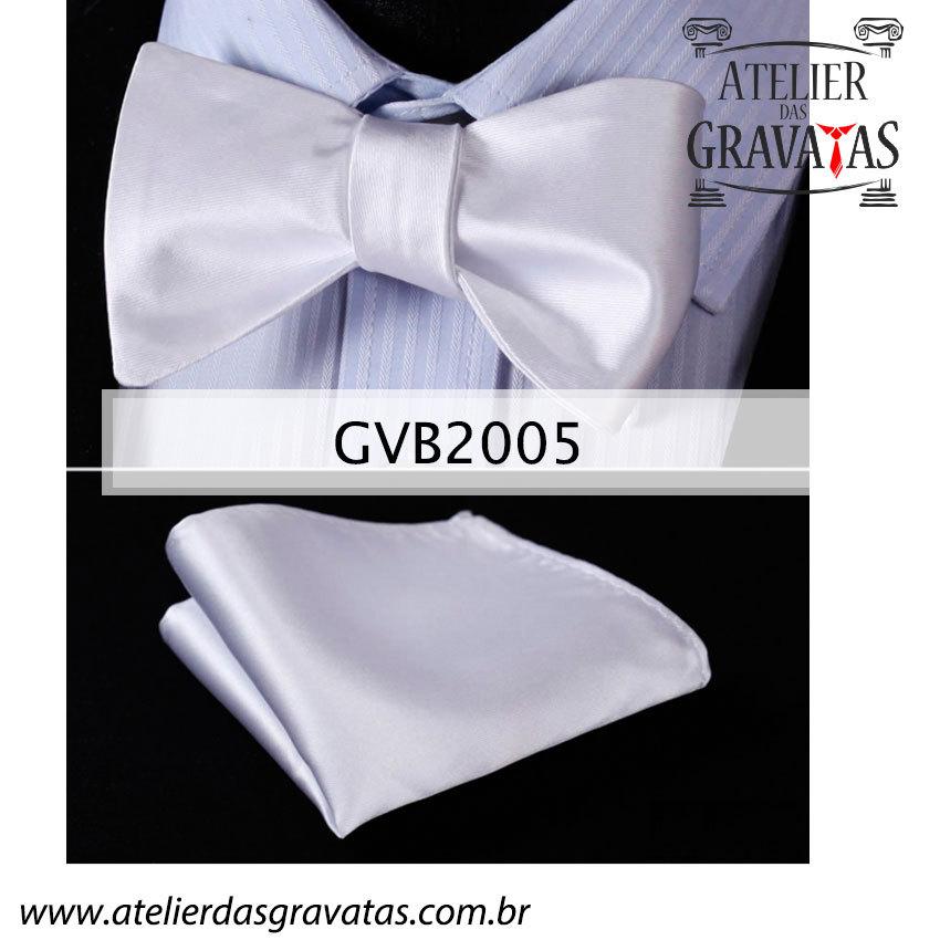 Gravata Borboleta Branca de Seda Especial GVB2005
