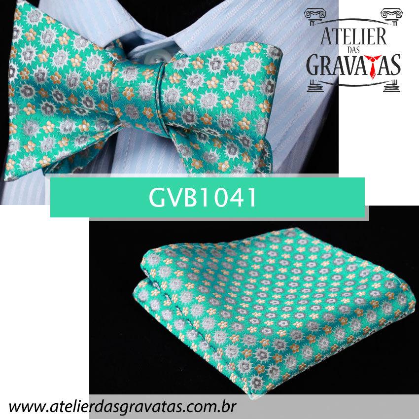 Gravata Borboleta de Seda Especial Textura Floral GVB1041