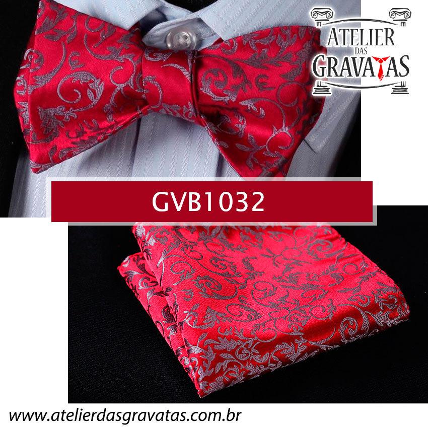 Gravata Borboleta de Seda Luxo GVB1032 - acompanha lenço