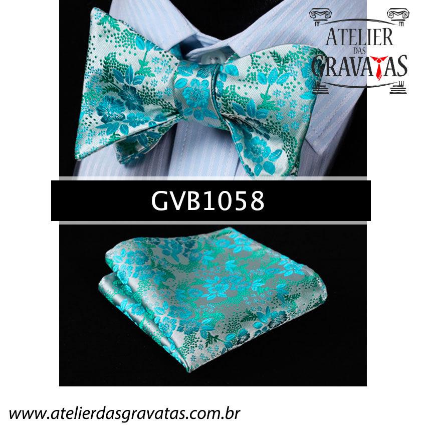 Gravata Borboleta de Seda Especial GVB1058 - acompanha lenço