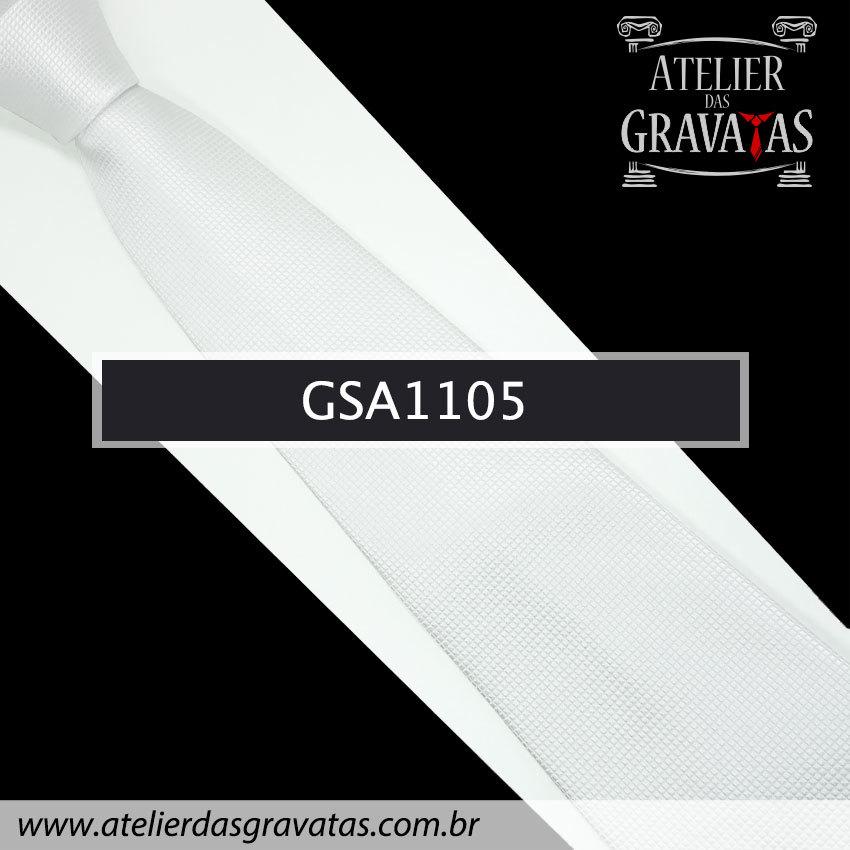 Gravata de Seda Branca 10cm GSA1105