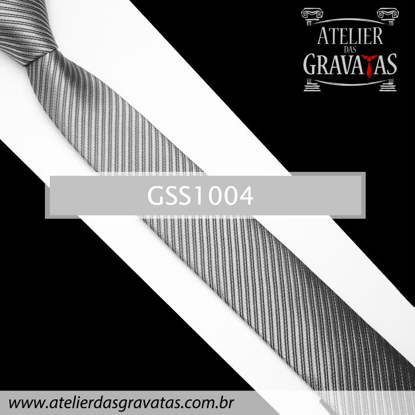 Gravata Slim Fit Prata 5cm GSS1004
