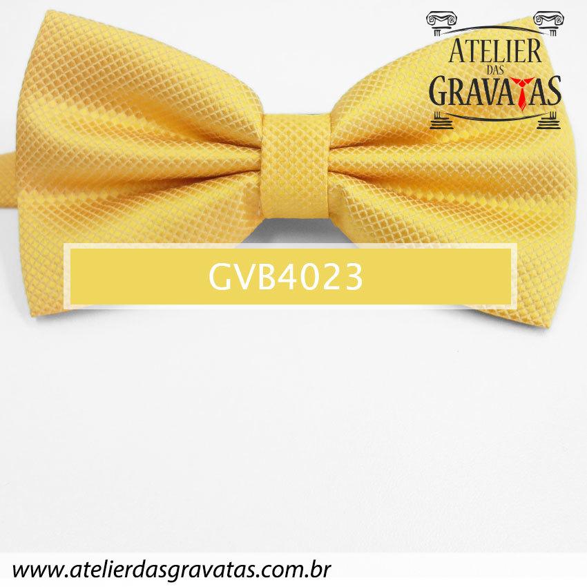 Gravata Borboleta Amarela - nó pronto GVB4023 - com ajuste de largura