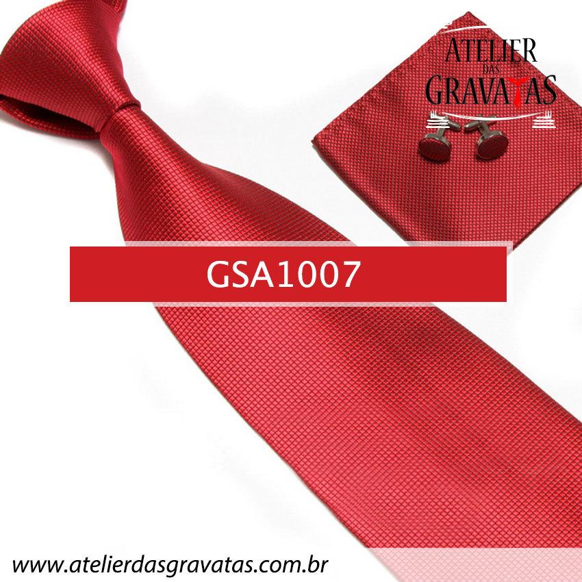 Gravata Vermelha Escuro de Seda 10cm GSA1007 - acompanha lenço e abotoaduras