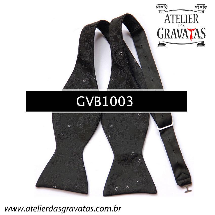 Gravata Borboleta Preta de Seda Especial Textura Floral GVB1003