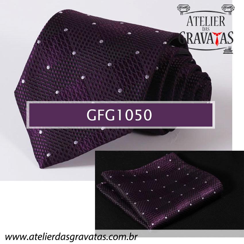 Gravata de Seda Especial Dot 8,5cm GFG1050 - acompanha lenço
