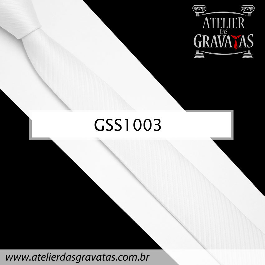 Gravata Slim Fit Branca 5cm GSS1003