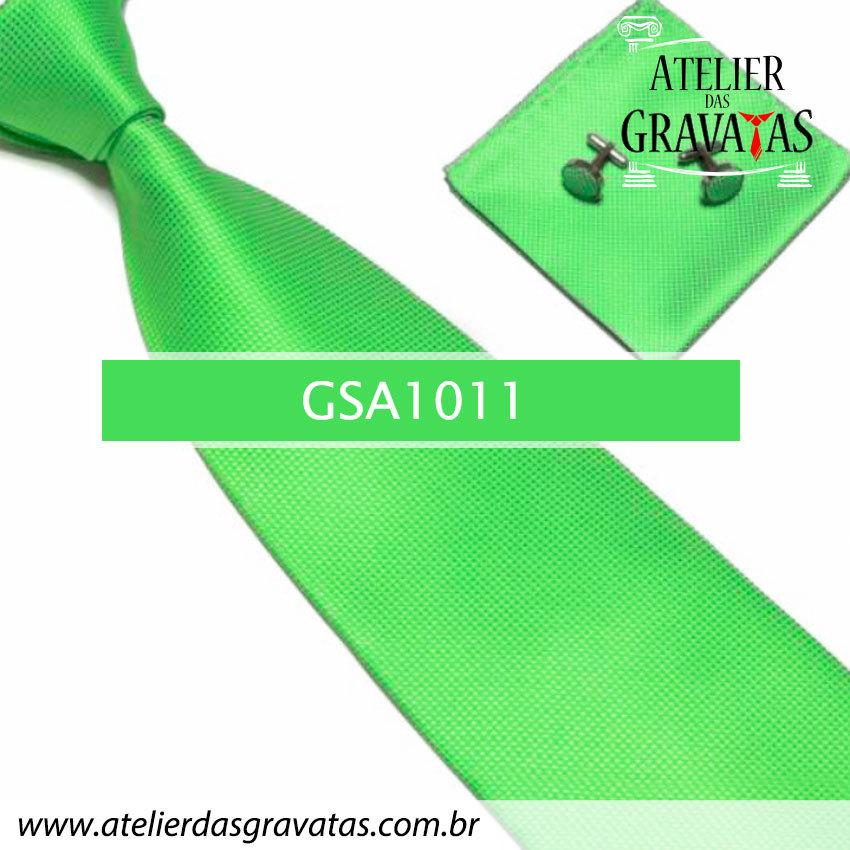Gravata Verde de Seda 10cm GSA1011 - acompanha lenço e abotoaduras