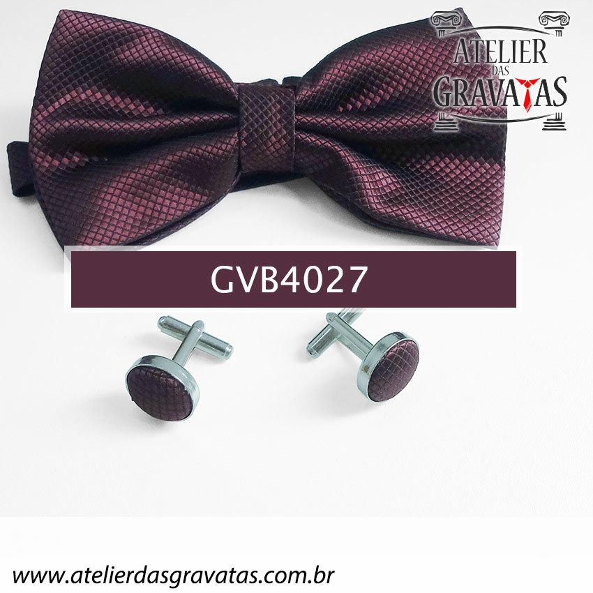 Gravata Borboleta Vinho - nó pronto GVB4027 - com ajuste de largura