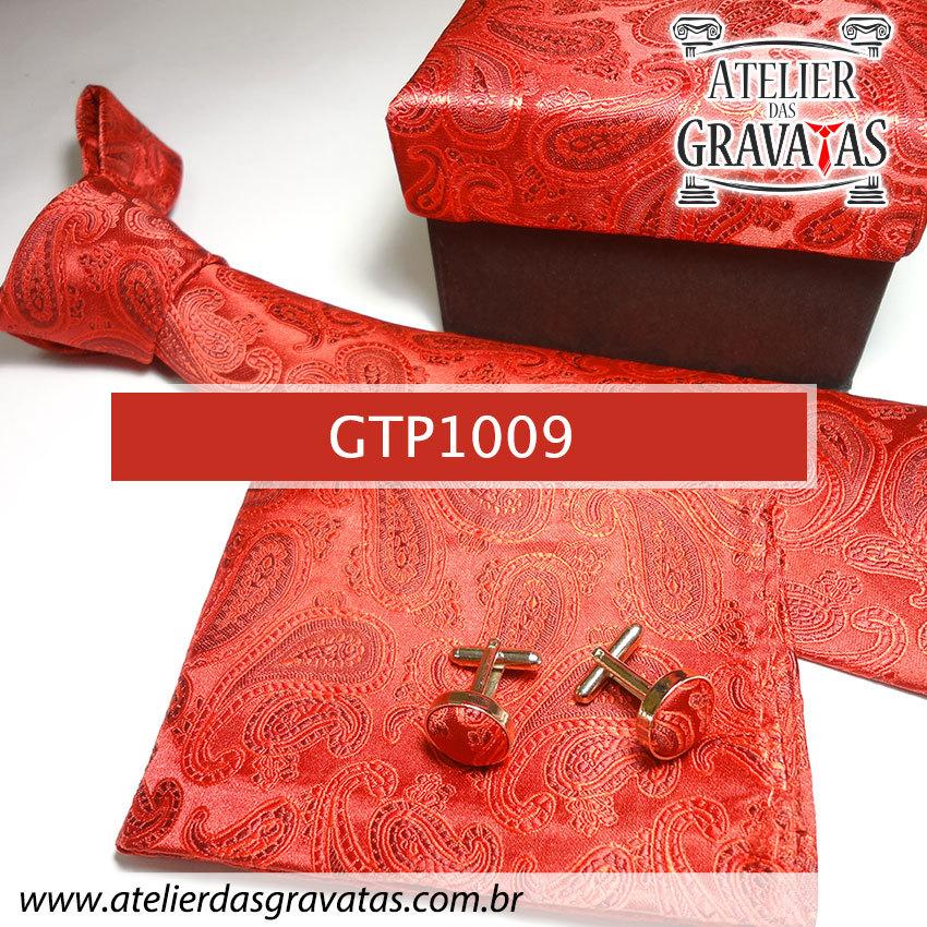 Gravata Vermelha Elegante de Seda Feita a Mão GTP1009