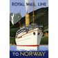 QUADRO RETRÔ ROYAL MAIL LINE TO NORWAY
