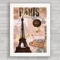 QUADRO VINTAGE PARIS EIFFEL ART COLLAGE