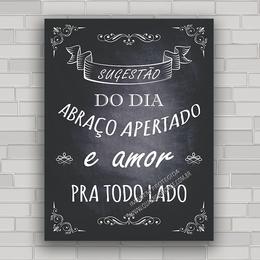 Placa Vintage Frases 146 Abraço E Amor Quadros Decorativos