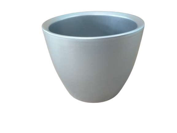Cachepô de cerâmica prateado