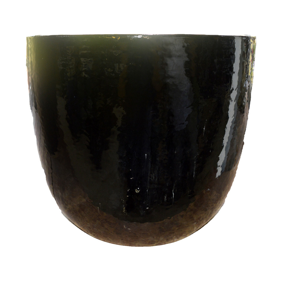 Vaso Vietnamita Redondo<BR> 44x40 cm- Shinny Black.
