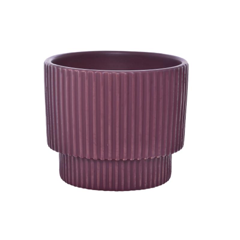 Cachepô pequeno de cerâmica Ondulado Vinho