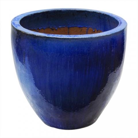 Vaso Vietnamita Redondo <BR> 48x48 cm- Blue Cloud.