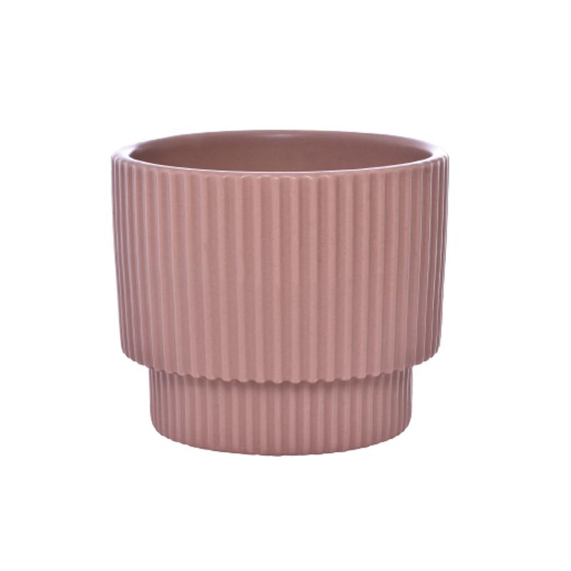 Cachepô pequeno de cerâmica Ondulado Rosê