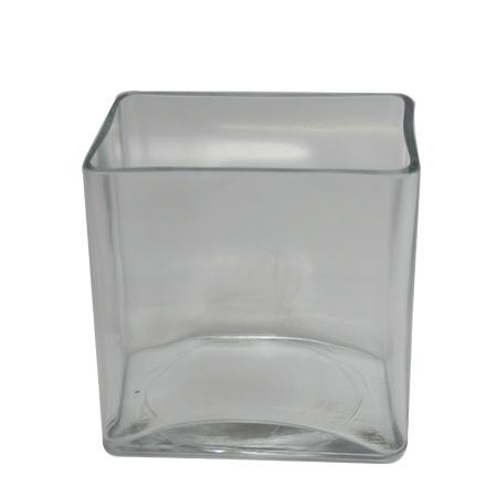 Vaso de Vidro Flora Retangular <br> 14x10x14 cm