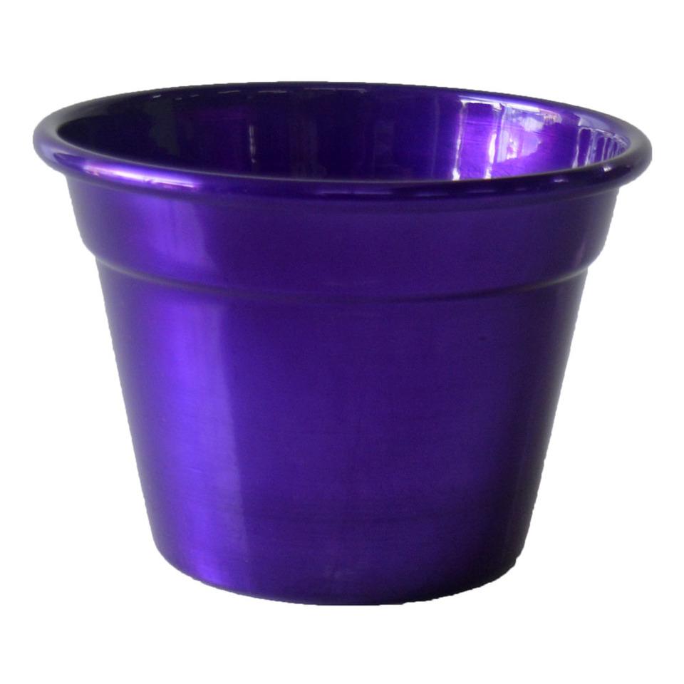 Cachepô  de Alumínio Violeta Metálico<BR> Selecione o tamanho: