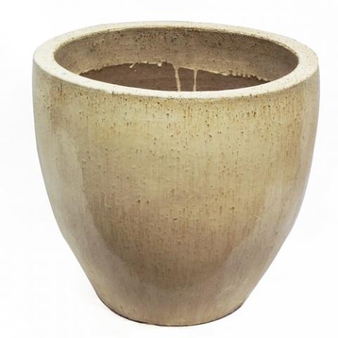 Vaso Vietnamita Redondo<BR> 28x28 cm-Sand.