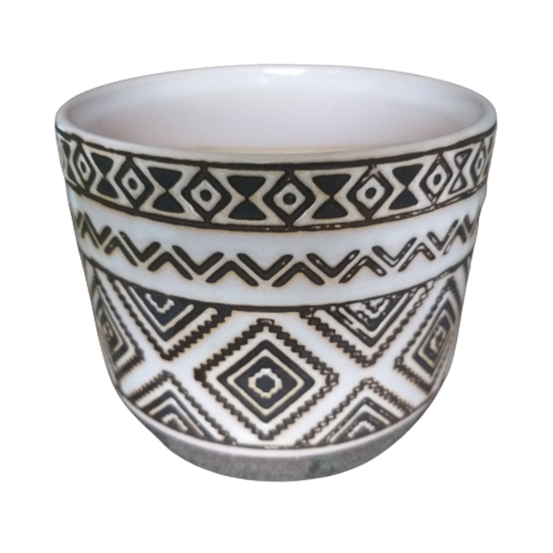 Cachepô de cerâmica étnico losangos