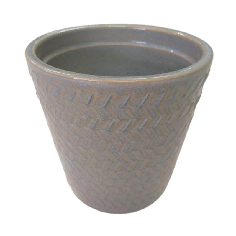 Cachepot de cerâmica com relevos cinza