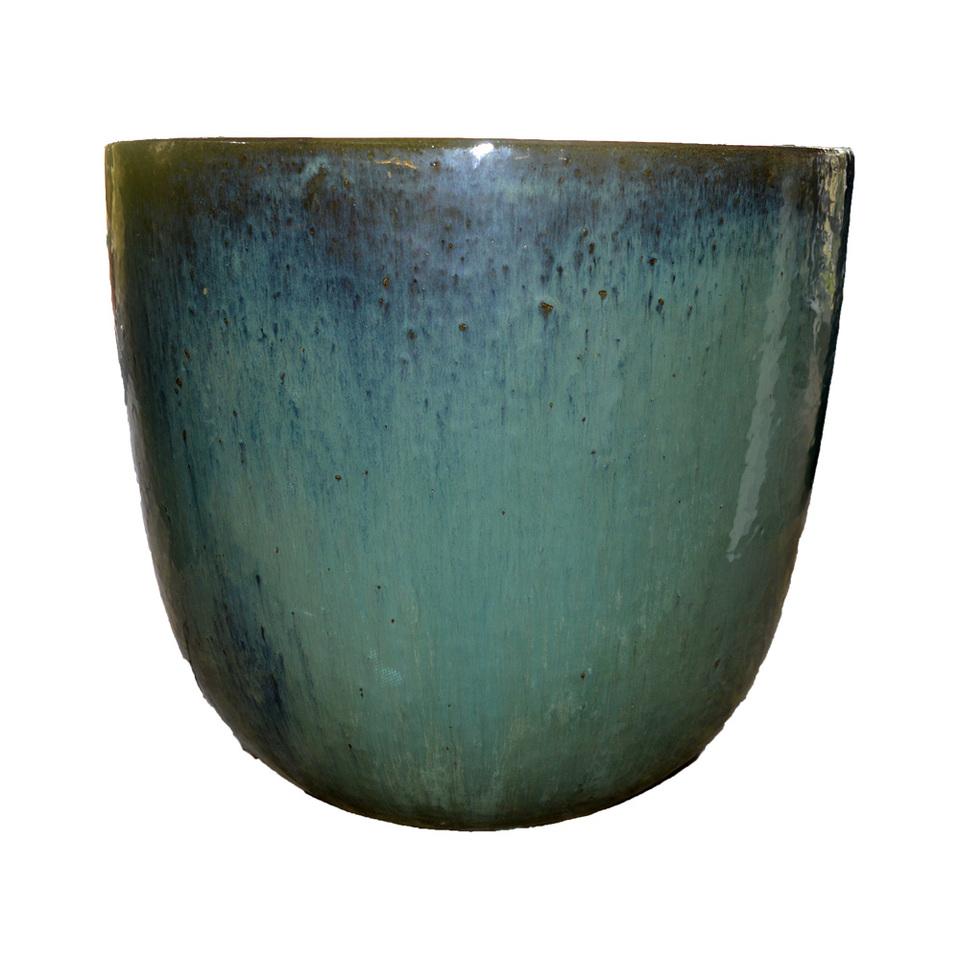 Vaso Vietnamita Redondo<BR> 53x50 cm- Aqua.