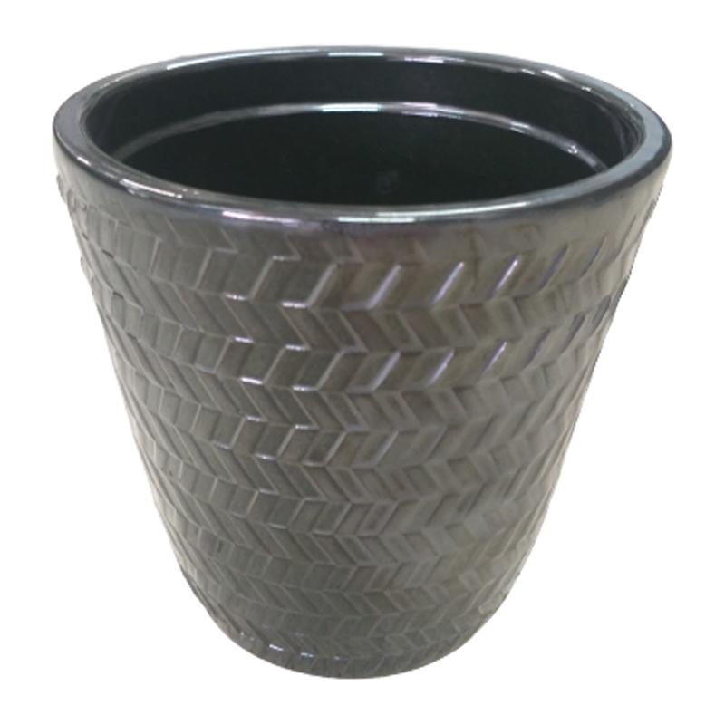 Cachepot de cerâmica com relevos prateado