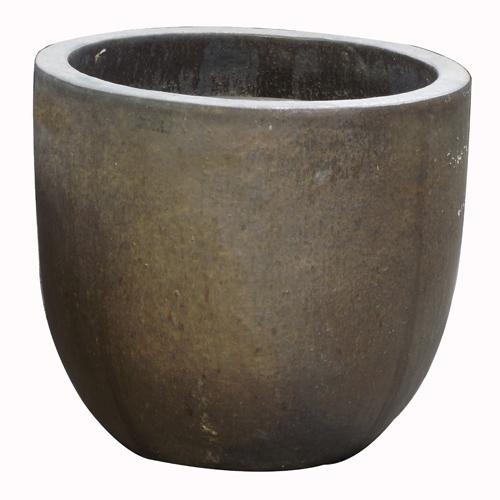 Vaso Vietnamita Redondo<BR> 53x50 cm- Heavy Metal.
