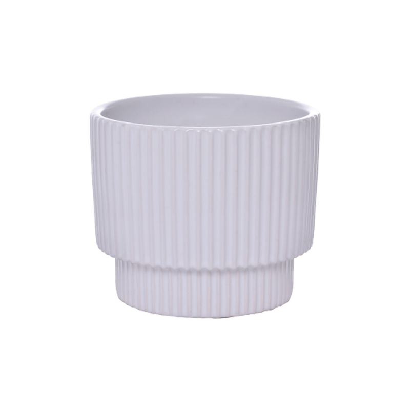 Cachepô pequeno de cerâmica Ondulado Branco