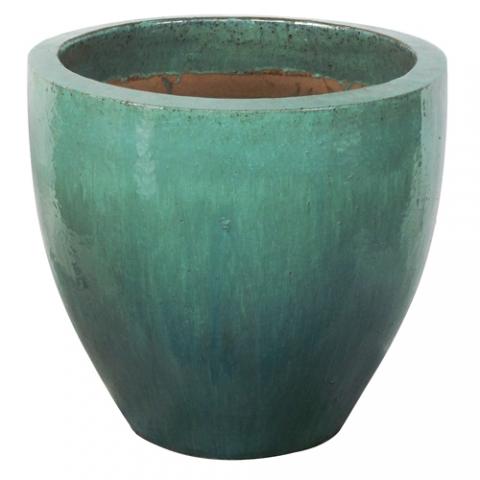 Vaso Vietnamita Redondo<BR> 38x38 cm- Aqua.
