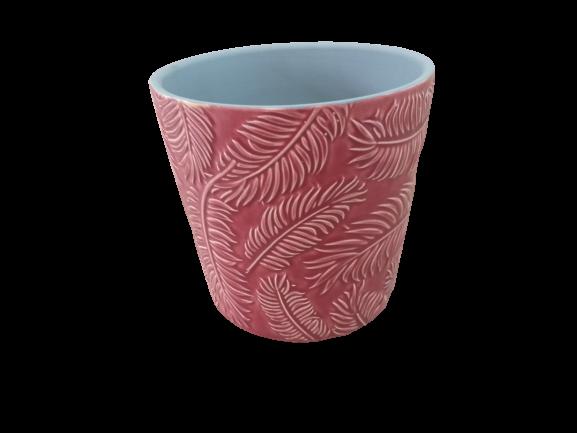 Cachepô de cerâmica folhas vermelho
