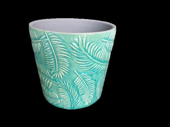 Cachepô de cerâmica folhas verde