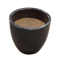 Vaso Vietnamita Redondo<BR> 48x48 cm- Shinny Black.