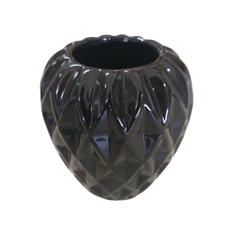 Vaso de cerâmica preto arredondado