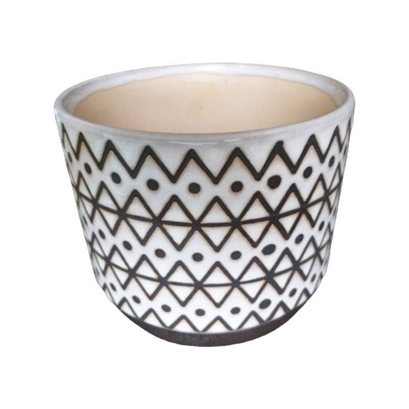 Cachepô de cerâmica etnico pontos