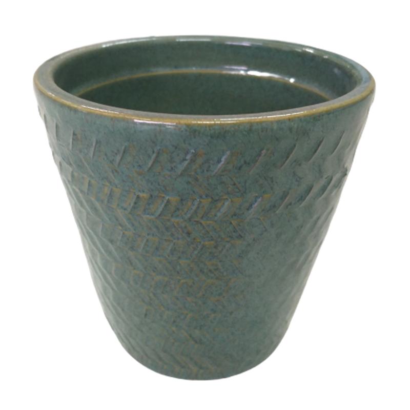 Cachepot de cerâmica com relevos verde