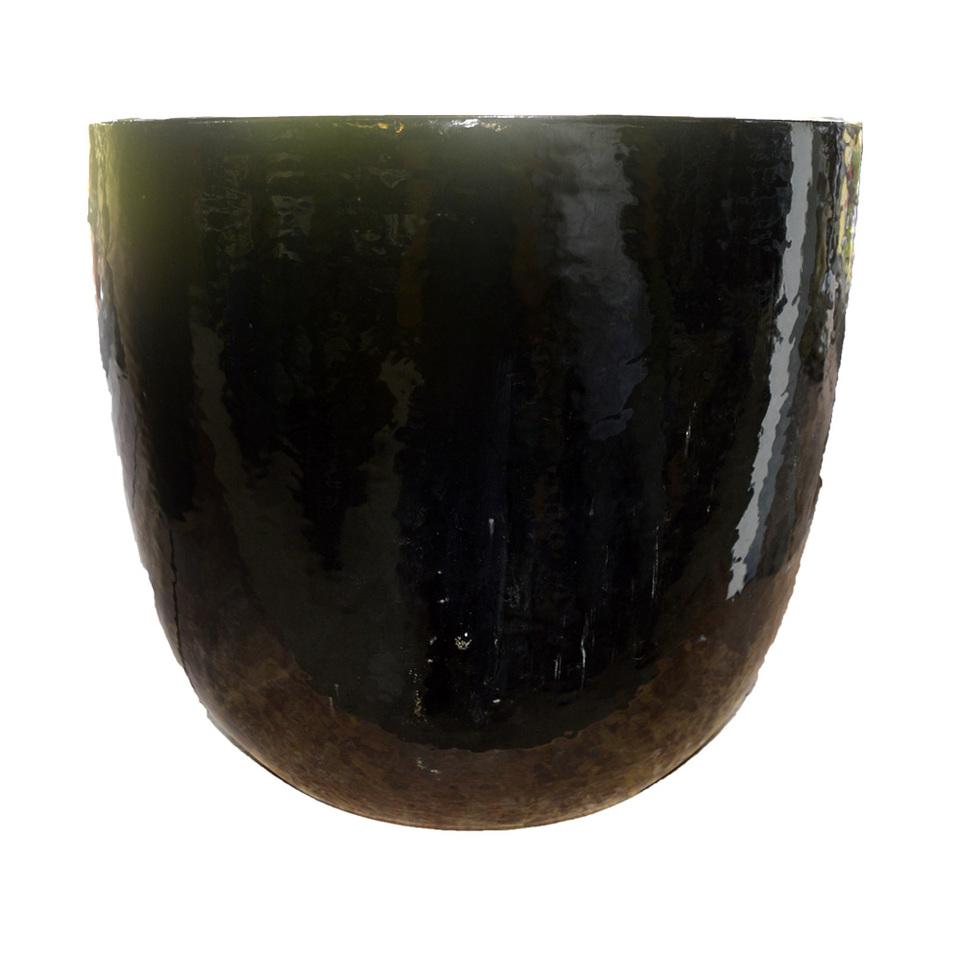 Vaso Vietnamita Redondo<BR> 53x50 cm- Shinny Black.