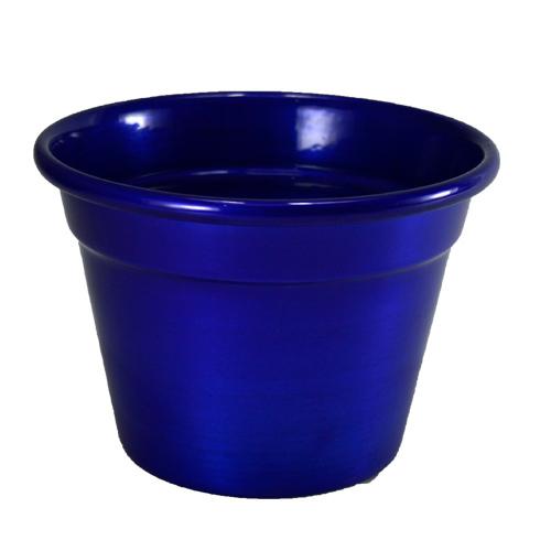 Cachepô de Alumínio Azul Metálico<BR> Selecione o tamanho: