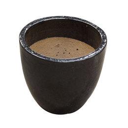 Vaso Vietnamita Redondo <BR> 38x38 cm- Shinny Black.